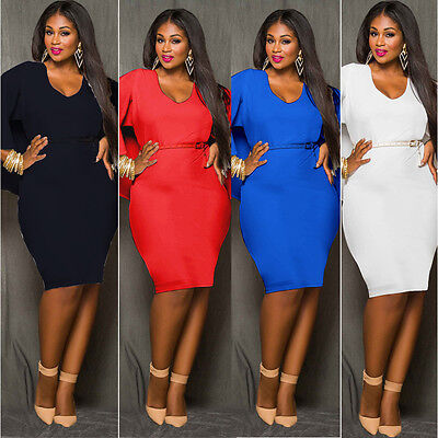 L-4XL Womens Regular Plus Size Cape Batwing Party Evening Bodycon Formal Dress - Special Occasion