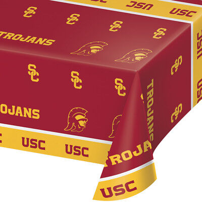 2-ct University of Southern California Trojans Premium Plastic Table Covers ](California Party Supplies)