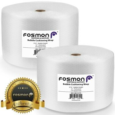 Fosmon Bubble Wrap 2 Roll X 12 X 175ft Total 350ft Perforated 12 Shipping