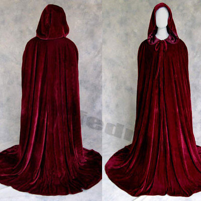 Hooded Velvet Halloween Cloak Cape Wedding Wicca Medieval Wizard Witch Wine - Red Hooded Cape