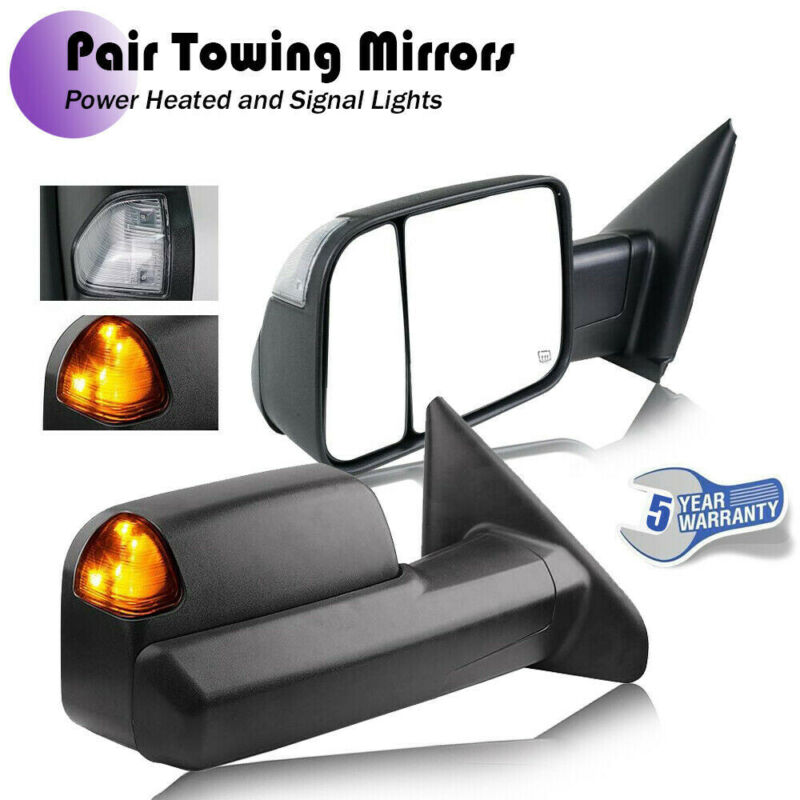 Pair Power Heated Towing Side Mirrors w//Light For 02-09 Dodge Ram 1500 2500 3500