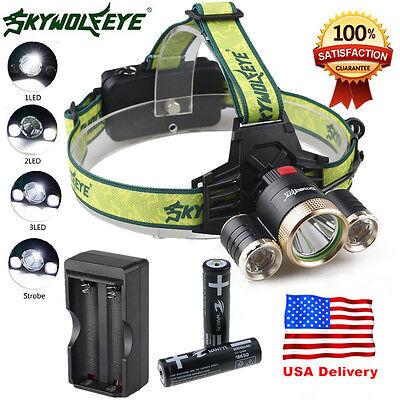 10000LM CREE 3XM-L T6 LED Headlamp 18650 Headlight 4 Modes Torch FlashLight Lamp