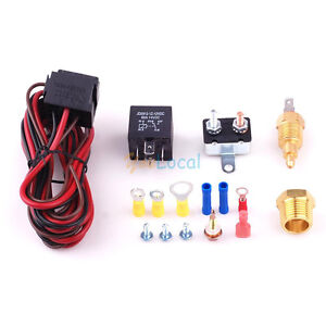 Fan Temperature Switch Sensor Relay Kit Engine-Cooling Fan Controller Thermostat