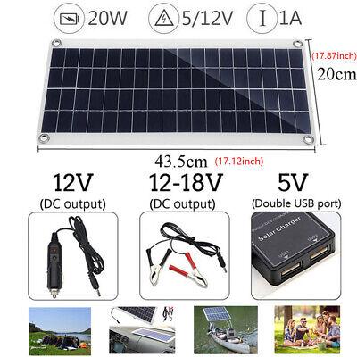 12V 20W Portable Solar Panel Trickle Battery Charger Car Van Boat Caravan Camper