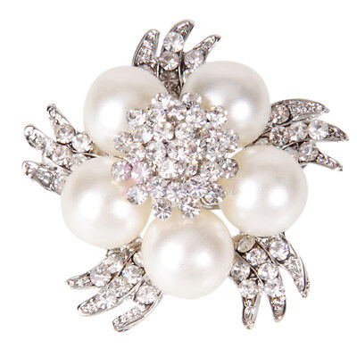 New Charming Rhinestone Crystal Bouquet Flower White Pearl Brooch Pin Ornament