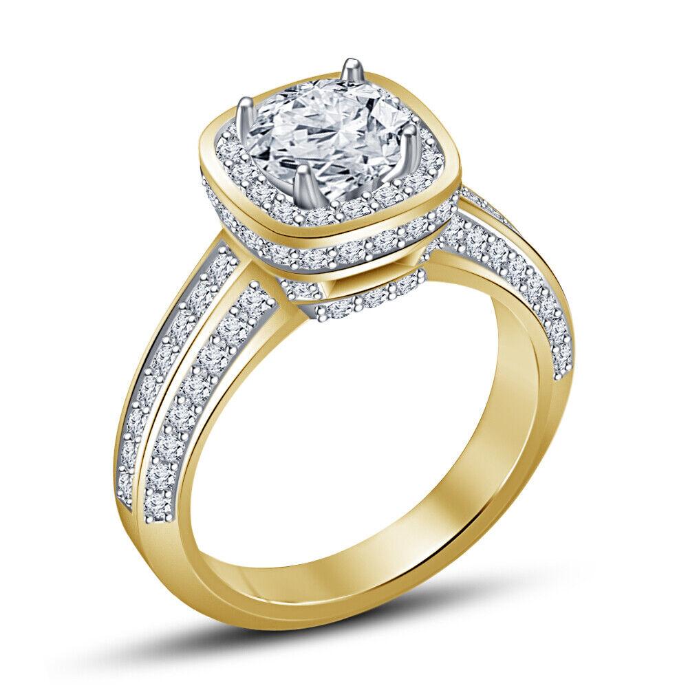 1.27 Ct Round White Diamond Engagement Ring IN 14K Yellow Go