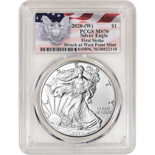 2020-(W) AMERICAN SILVER EAGLE - PCGS MS70 - FIRST STRIKE RED FLAG LABEL