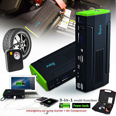 12800mAh Heavy Duty Jump Starter Tire Compressor Power Bank iPhone Tablet Laptop