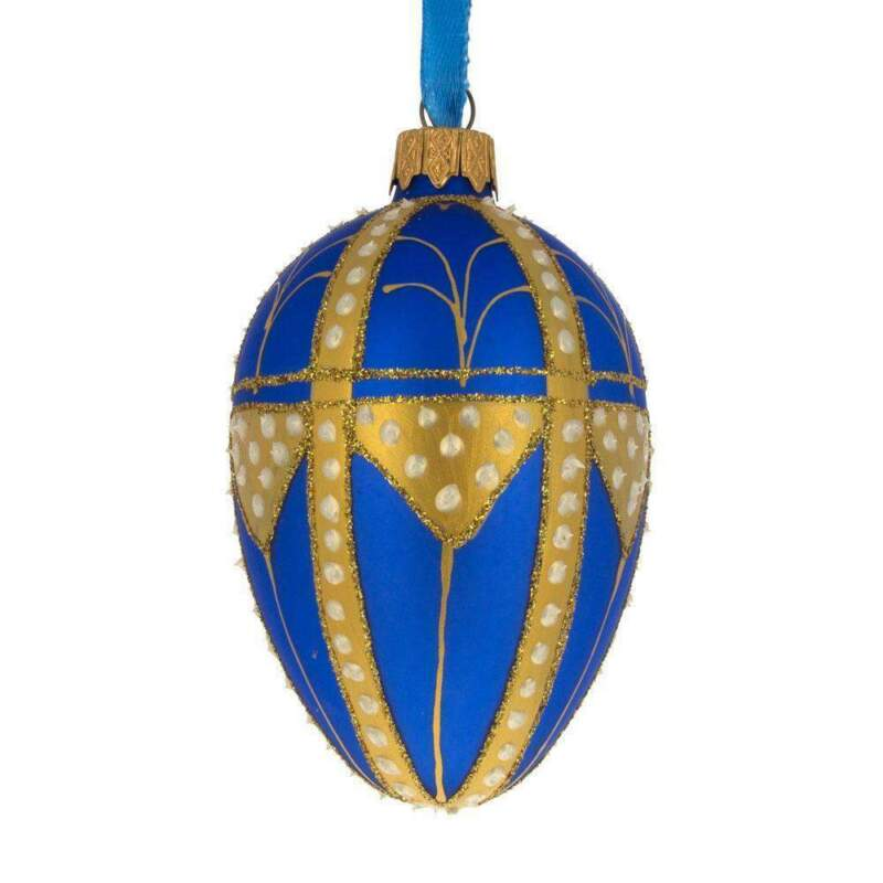 Golden Triangles Royal Egg Glass Ornament