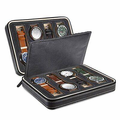 8-Slot Genuine Leather Watch Box Display Roll Storage Organizer Travel Case US
