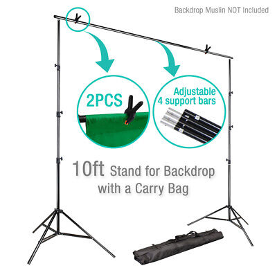Купить 10Ft Adjustable Background Support Stand Photo Backdrop Crossbar Kit Photography