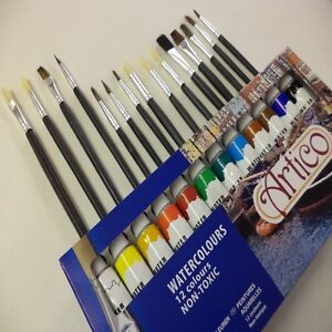 24PC ARTISTS WATER COLOURS PAINTS SET HOBBIES CRAFTS PICTURES EQUIPMENT KIT ART