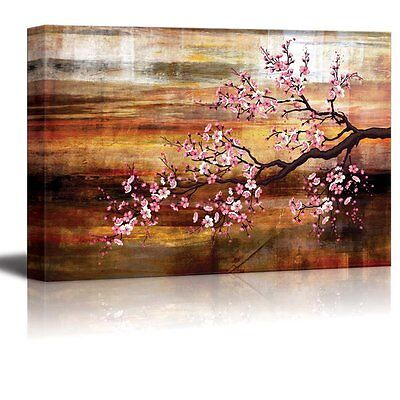 Abstract Canvas Art - Cherry Blossom - Giclee Print Modern Wall Decor - 16x24
