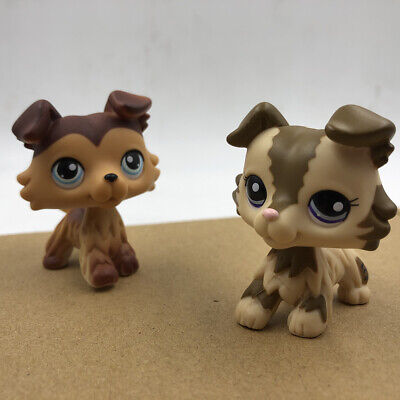 2x Littlest Pet Shop Hasbro LPS Brown Pink Collie Dog #2210 #58 Puppy Doll Toy