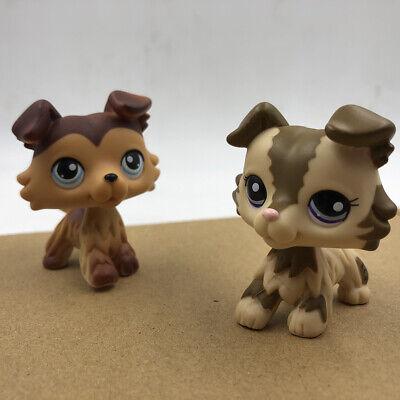 2x Littlest Pet Shop Hasbro LPS Brown Pink Collie Dog #2210 #58 Puppy Doll Toy