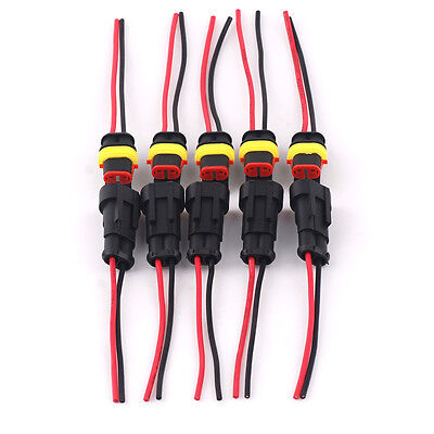 5 Kit Acdc Power Female Male 2pin 2way Cable Connector For Motorcycle Car