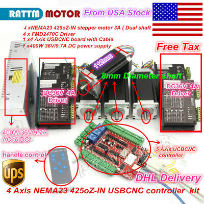 Us Stock4axis Usbcnc Nema23 Stepper Motor 425oz-in Dual Shaft Driver Cnc Kit