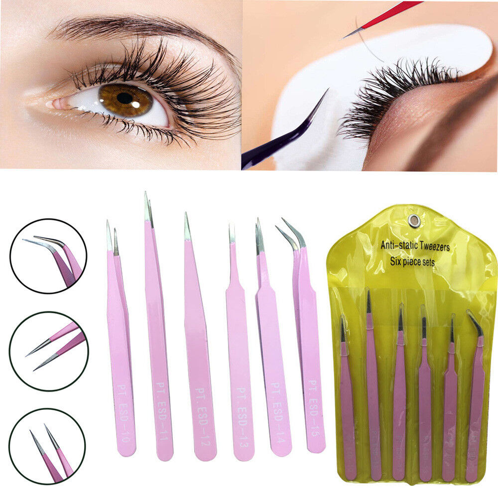 6pcs BGA Precision Tweezer Set Stainless Steel Eyebrow Tweezers Eyelash Curler