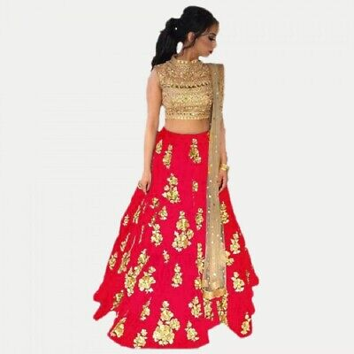 Party Wear Red New Indian Designer Lehenga Choli Ethnic Wedding Pakistani lengha