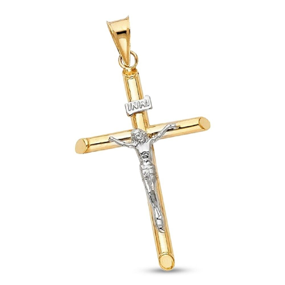 14k White And Yellow Gold Religious Crucifix Pendant Charm