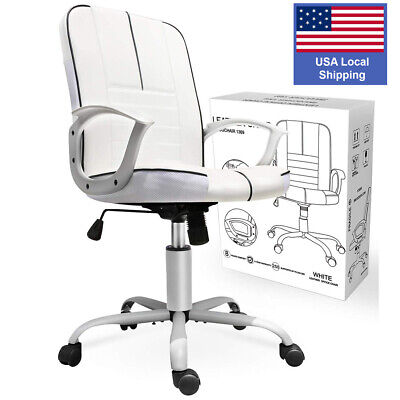 Executive Ergonomic Office Chair Pu Leather High Back Computer Desk Task White