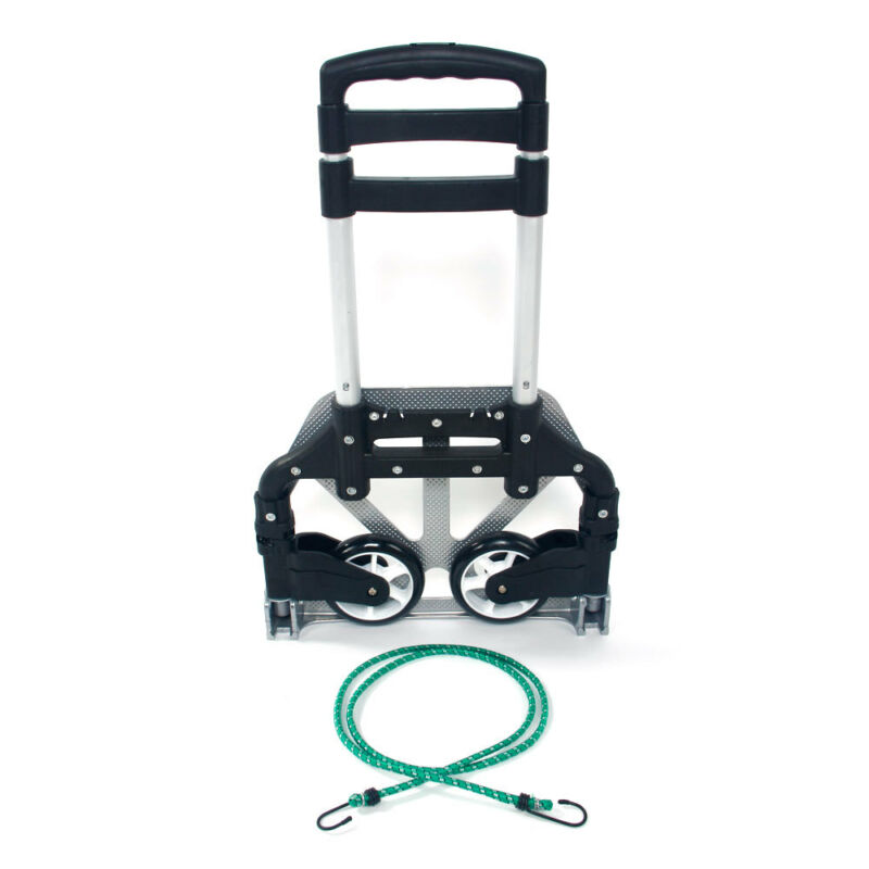 170 lbs Folding Aluminium Cart Luggage Trolley Hand Truck with Green Bungee Cord