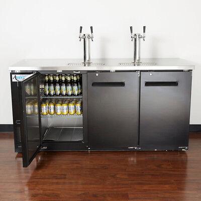 New Avantco 2 Double Tap Kegerator Beer Dispenser - Black 3 12 Keg Capacity