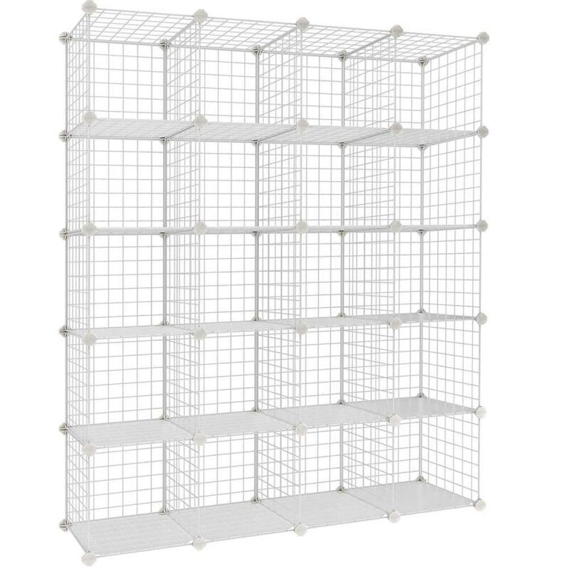 Wire Cube Storage Organizer Modular Shelving Units Metal Grids Bookshelf 20-Cube
