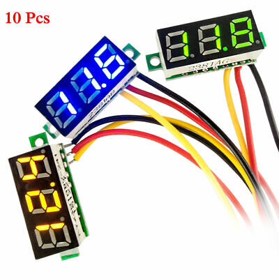 10 Pcs Mini Dc 0-100v 0.28 3-digital Voltmeter Led Voltage Panel Meter 3-wires