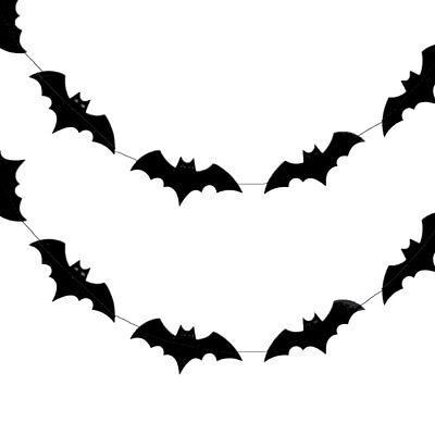 Halloween Bats Paper Garland Banner (10FT) - Halloween Garland Black
