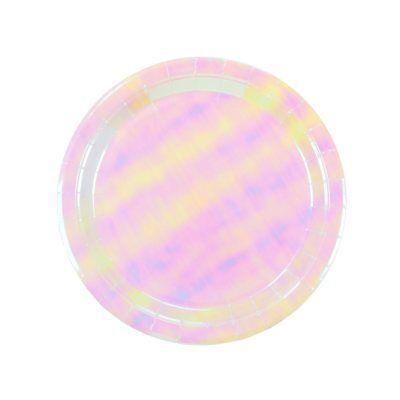 12 x Pink Iridescent Paper Plates Baby Shower Christening Girls Birthday Wedding