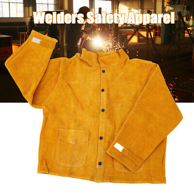 Welder Jacket Protective Clothing Welding Safety Apparel Cow Leather Apron L-3xl