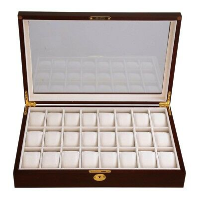 24 Watch Display Case Cherry Wood Glass Top Jewelry Box Collector Mens Gift (Jewelry Watch Case)