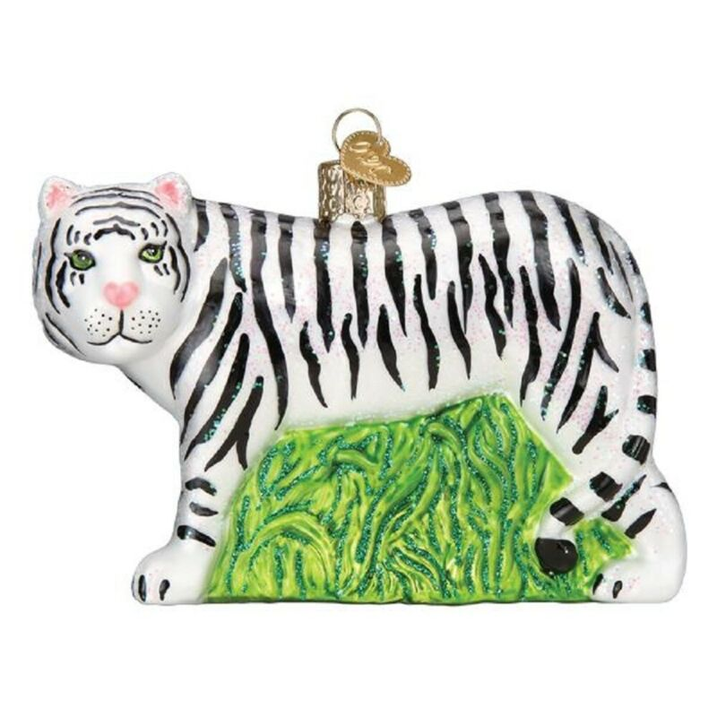 Old World Christmas White Tiger Glass Ornament FREE BOX 12137