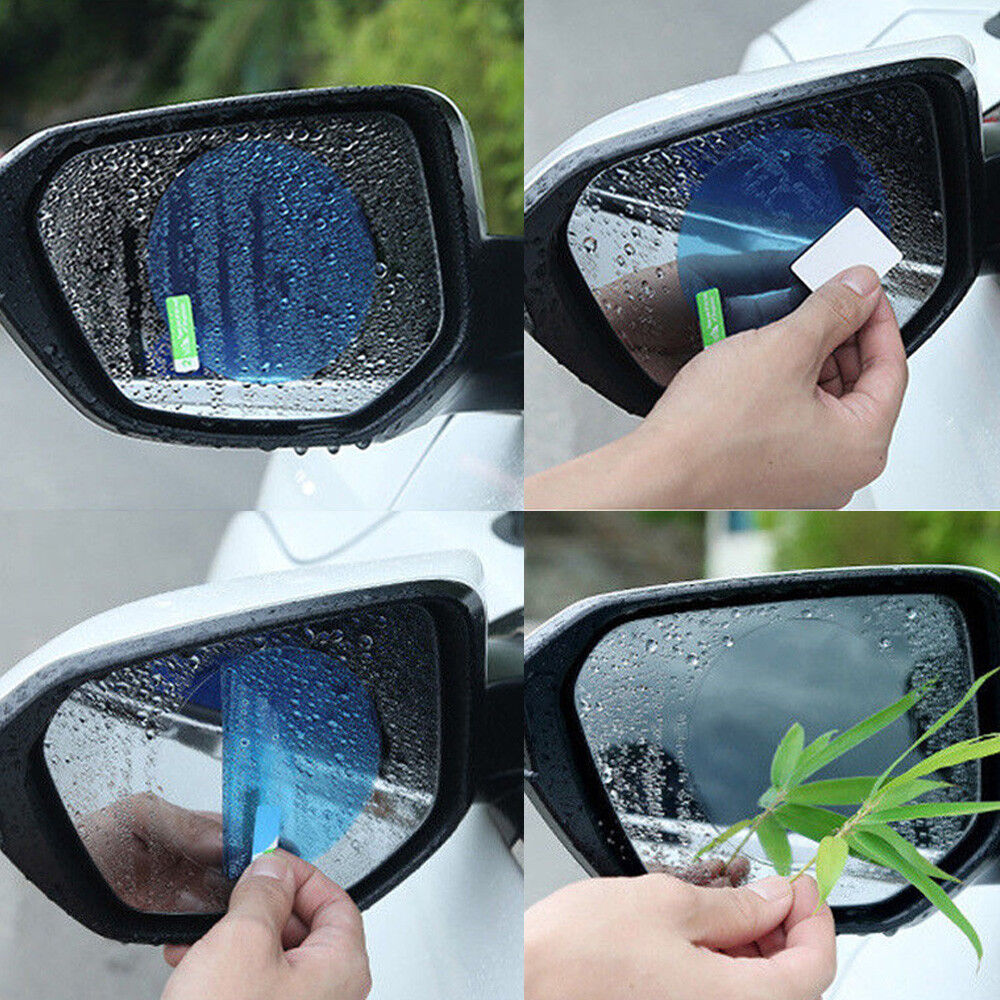 Gesuto Car Rearview Mirror Film,4Pcs Car Side View Mirror Anti Glare Films Anti Fog Rainproof Waterproof Protective Membrane Protector with Scraper for Car Rear View Mirrors Side Windows