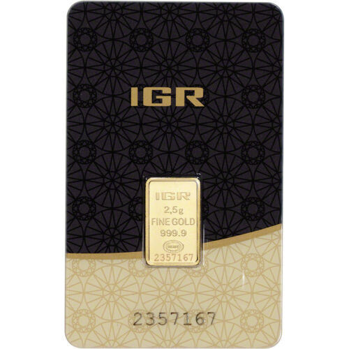 2.5 gram IGR Gold Bar - Istanbul Gold Refinery - 999.9 Fine in Sealed Assay