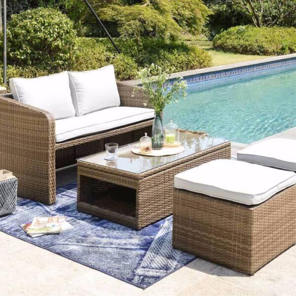 Beautiful Luxo Nevis 4 Seater Pe Wicker Outdoor Furniture Set Brown Part 22