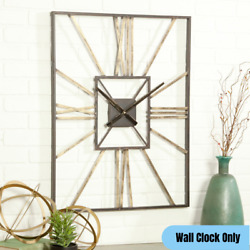 Large Mid Century Metal Wall Clock Roman Numerals Rustic Industrial Accent Decor