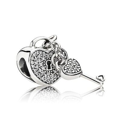 Authentic Pandora Charm 791429Cz Lock Of Love W  Clear Cz