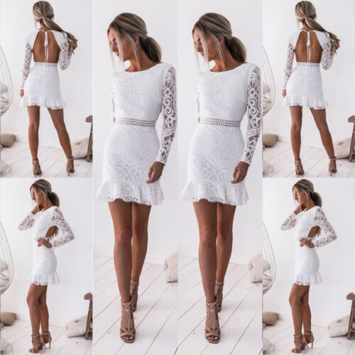 5583854177bc24 Damen Sexy Abend Party Cocktail Shorts Mini Spitzenkleid Bodycon Clubwear  Kleid