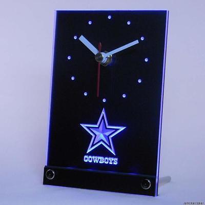Dallas Cowboys Table Desk Top 3D LED Clock Light NFL Football Sports Team
