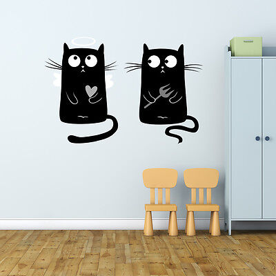 Angel and Devil Kitties Wall Decal Sticker - Angel And Devil