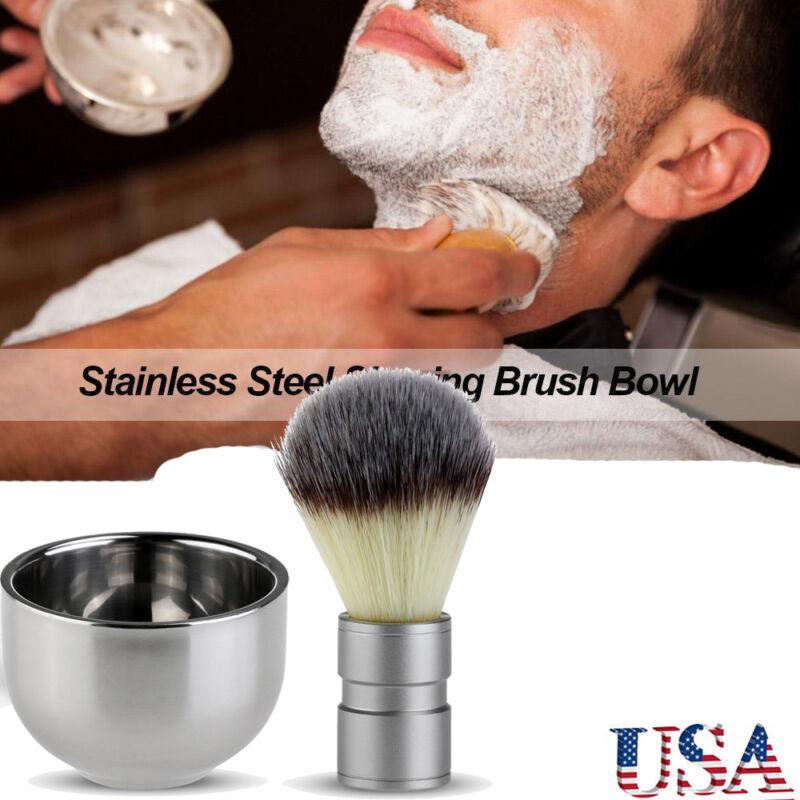 TINKSKY  Stainless Steel Badger Hair Shaving Brush Double