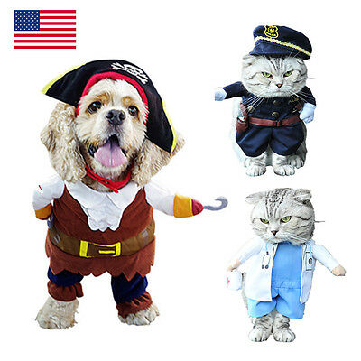 Pet Cosplay Clothes Cute Small Dog Party Costume Puppy Pirate Doctor Suit M/L - Cute Pirate
