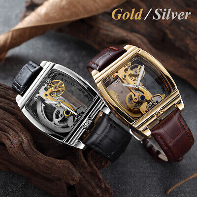 Men Tourbillion Quality Watch Luxury Bling Skeleton Retro Mechanical Wrist Watch