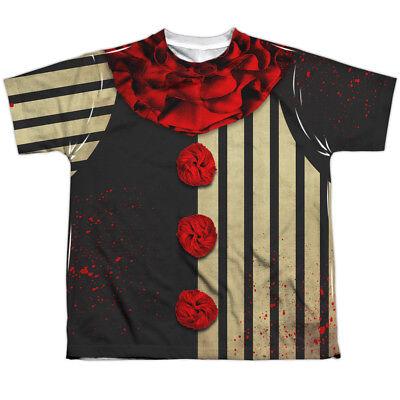 CREEPY CLOWN COSTUME Kids Front Print Tee Shirt SM-XL BOYS SZ 6-20 Halloween  - 20 Creepy Halloween Costumes