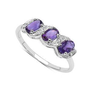 9ct white gold amethyst eternity ring size j t