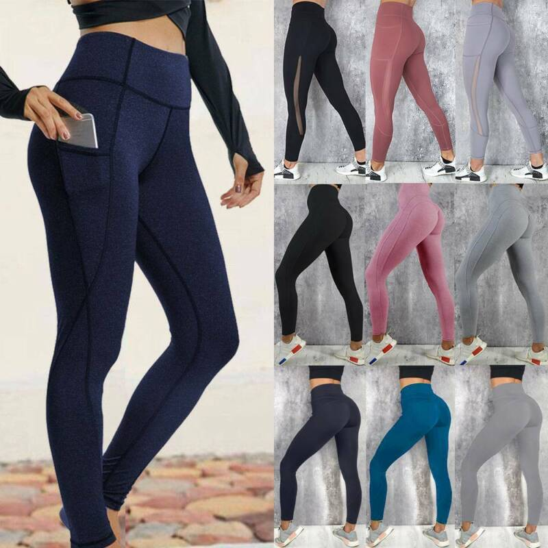 Women High Waist Sports Yoga Pants Leggings Printed Fitness Gym Stretch Trousers 15