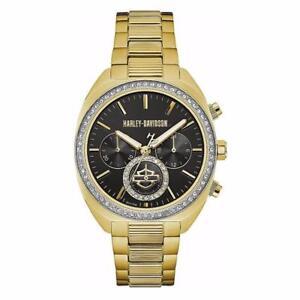 Harley-Davidson Women's Crystal Six-Hand Chronograph Watch, Gold-Tone 77M103