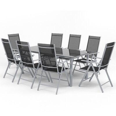 9-tlg Alu Gartenmöbel Set Sitzgruppe Tisch Gartengarnitur ...